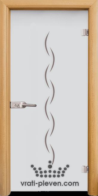 Стъклена интериорна врата модел Sand G 13-1 с каса Светъл дъб