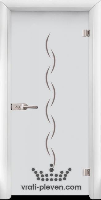 Стъклена интериорна врата модел Sand G 13-1 с каса Бяла