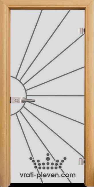 Стъклена интериорна врата модел Sand G 13-2 с каса Светъл дъб
