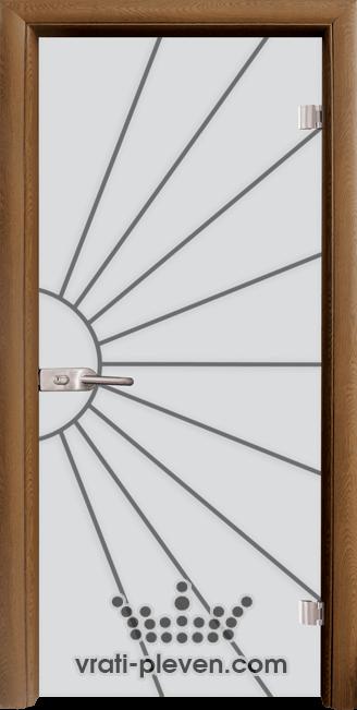 Стъклена интериорна врата модел Sand G 13-2 с каса Златен дъб