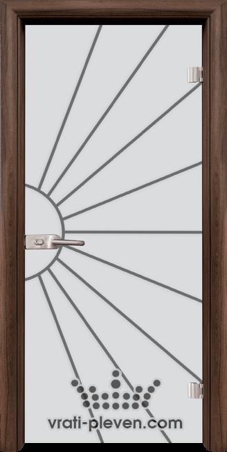 Стъклена интериорна врата модел Gravur G 13-2 с каса Орех