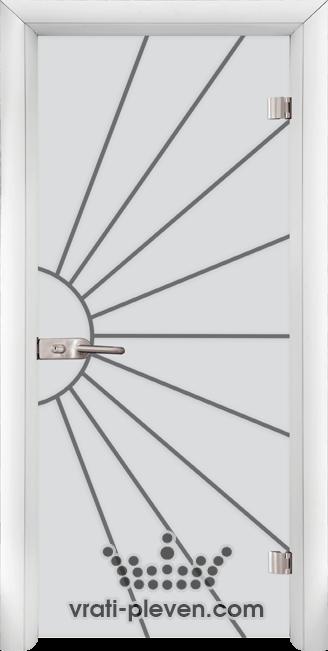 Стъклена интериорна врата модел Sand G 13-2 с каса Бяла