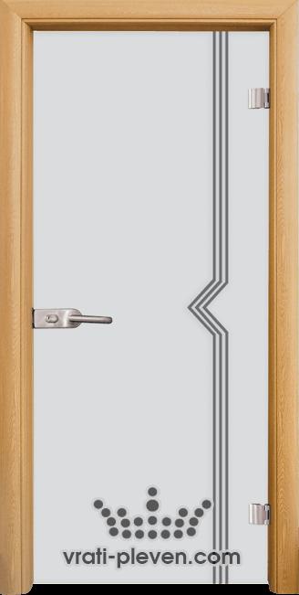 Стъклена интериорна врата модел Sand G 13-3 с каса Светъл дъб