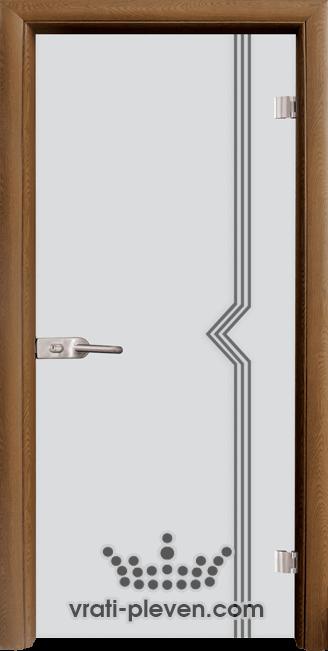 Стъклена интериорна врата модел Sand G 13-3 с каса Златен дъб