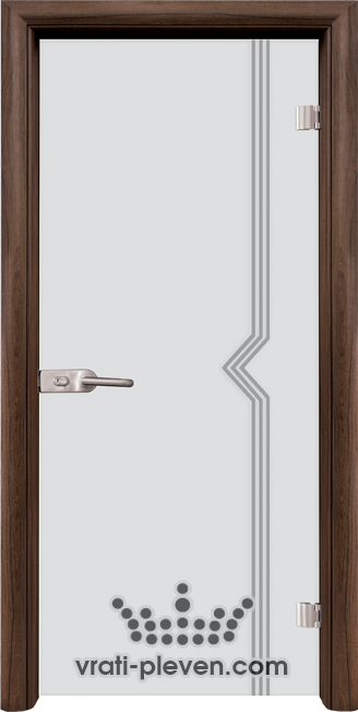 Стъклена интериорна врата модел Sand G 13-3 с каса Орех