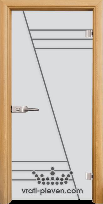 Стъклена интериорна врата модел Sand G 13-4 с каса Светъл дъб