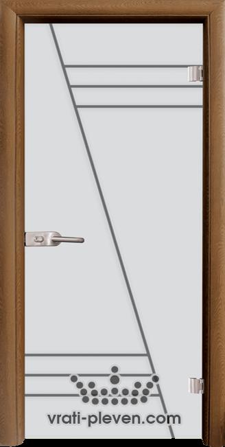 Стъклена интериорна врата модел Sand G 13-4 с каса Златен дъб