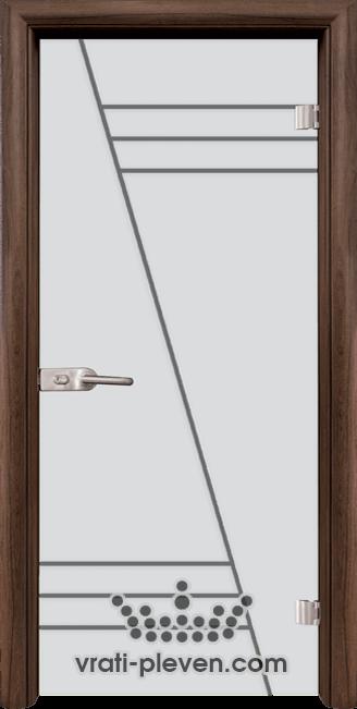 Стъклена интериорна врата модел Sand G 13-4 с каса Орех