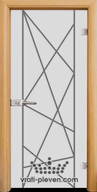 Стъклена интериорна врата модел Sand G 13-5 с каса Светъл дъб