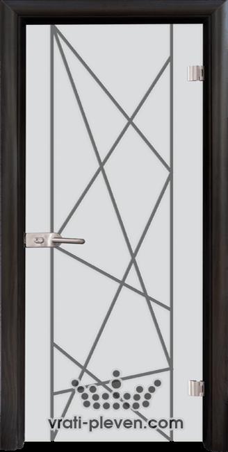 Стъклена интериорна врата модел Sand G 13-5 с каса Венге