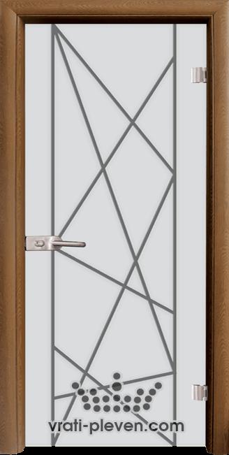 Стъклена интериорна врата модел Sand G 13-5 с каса Златен дъб