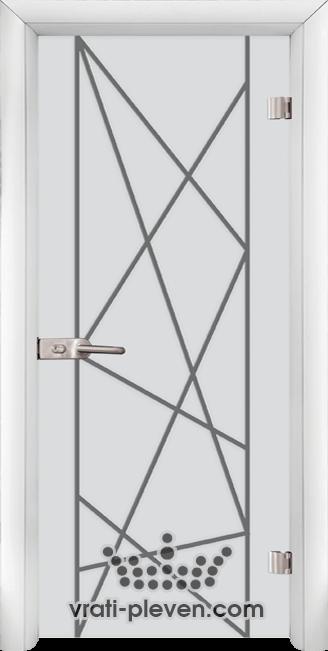 Стъклена интериорна врата модел Sand G 13-5 с каса Бяла