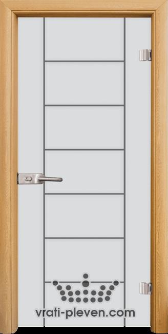 Стъклена интериорна врата модел Sand G 13-6 с каса Светъл дъб