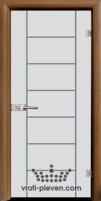 Стъклена интериорна врата модел Sand G 13-6 с каса Златен дъб