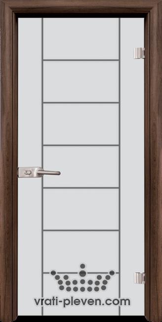 Стъклена интериорна врата модел Sand G 13-6 с каса Орех