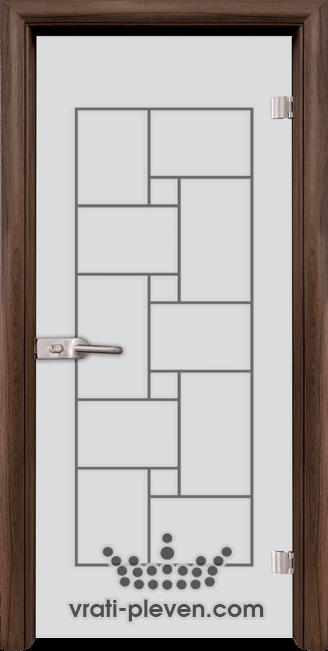 Стъклена интериорна врата модел Sand G 13-7 с каса Орех
