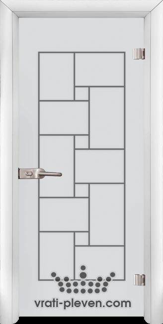 Стъклена интериорна врата модел Sand G 13-7 с каса Бяла