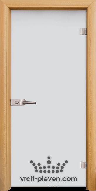 Стъклена интериорна врата модел Matt G 11 с каса Светъл дъб