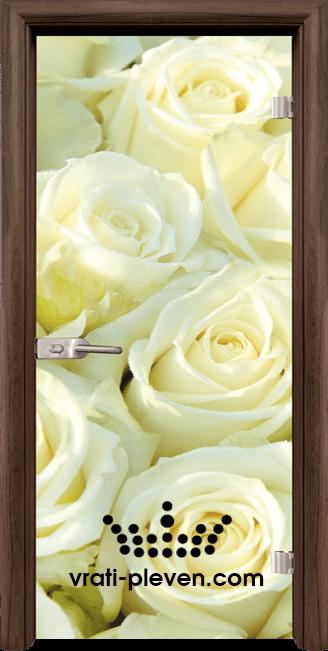 Стъклена интериорна врата модел Print G 13-6 с каса Орех