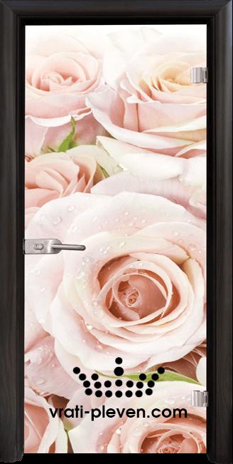 Стъклена интериорна врата модел Print G 13-7 с каса Венге
