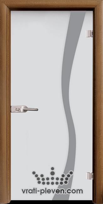 Стъклена интериорна врата модел Sand G 14-1 с каса Златен дъб