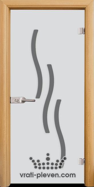 Стъклена интериорна врата модел Sand G 14-2 с каса Светъл дъб