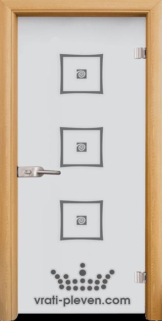 Стъклена интериорна врата модел Sand G 14-3 с каса Светъл дъб