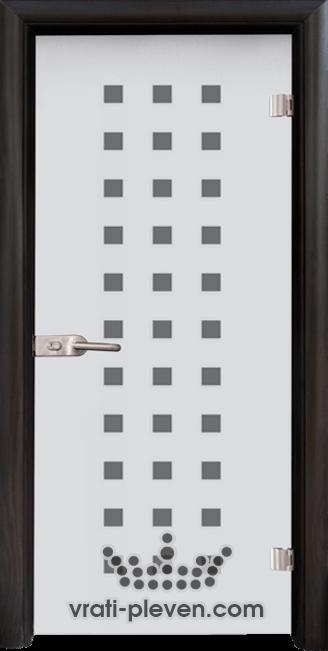 Стъклена интериорна врата модел Sand G 14-4 с каса Венге
