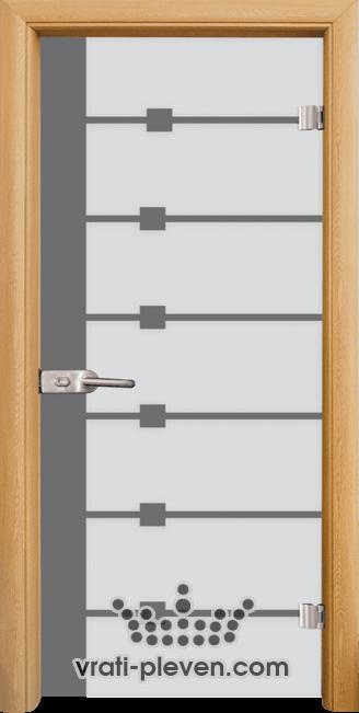 Стъклена интериорна врата модел Sand G 14-5 с каса Светъл дъб