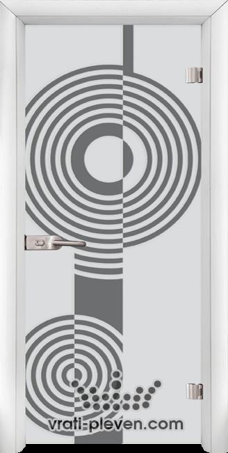 Стъклена интериорна врата модел Sand G 14-6 с каса Бяла
