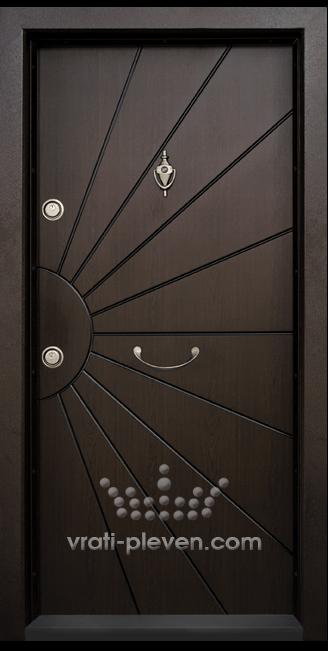 Блиндирана входна врата модел Т109 Тъмен орех