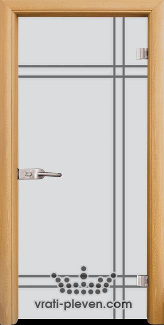 Стъклена интериорна врата модел Sand G 13-8 с каса Светъл дъб