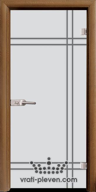 Стъклена интериорна врата модел Sand G 13-8 с каса Златен дъб