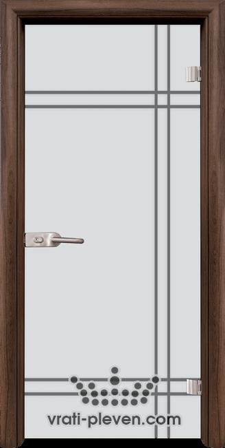 Стъклена интериорна врата модел Sand G 13-8 с каса Орех