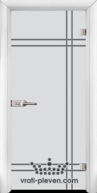 Стъклена интериорна врата модел Sand G 13-8 с каса Бяла