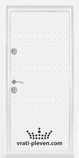 Блиндирана входна врата T 777, цвят Бял гланц